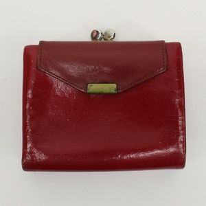 Vintage Lady Buxton Red Leather Kiss Lock Wallet
